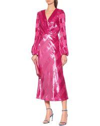 Rebecca Vallance Maison Striped Velvet Dress - Pink