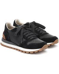 Brunello Cucinelli Embellished Suede Sneakers - Black