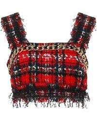 Balmain Verziertes Cropped-Top aus Tweed - Rot