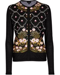 Giambattista Valli Embroidered Cashmere And Silk Cardigan - Black