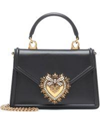 Dolce & Gabbana Devotion Small Leather Shoulder Bag - Black