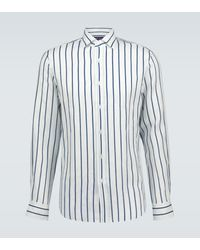 Ralph Lauren Purple Label Gestreiftes Hemd aus Leinen - Blau