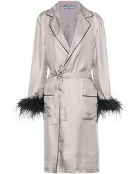 Prada Feather-trimmed Silk Robe - Grey