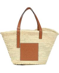 Loewe - Large Leather-trimmed Basket Tote - Lyst