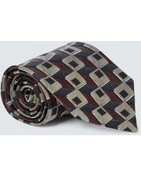 Dries Van Noten Bedruckte Krawatte aus Seide - Grau