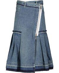 Sacai Gonna midi di jeans - Blu