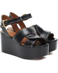 Chloé Candice Leather Platform Sandals - Black
