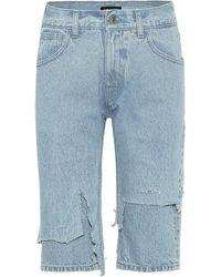 Raf Simons Bermudas de jeans desgastadas - Azul