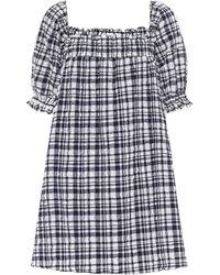 Solid & Striped Vestido corto Babydoll de cuadros - Azul