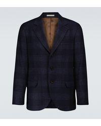 Brunello Cucinelli Wool And Cashmere Checked Blazer - Blue