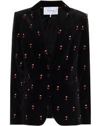 FRAME Heart-embroidered Velvet Blazer - Black