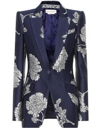 Alexander McQueen Floral Brocade Blazer - Blue