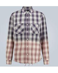 Amiri Gradient Frayed Checked Shirt - Purple