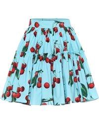 Dolce & Gabbana Exclusive To Mytheresa – Cherry Printed Cotton Miniskirt - Blue