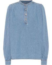 Ganni Bluse aus Denim - Blau