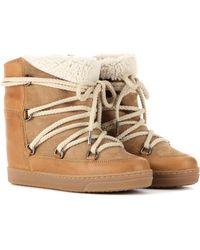"""Isabel Marant Chaussures Compensées En Shearling """"nowles"""" 70mm - Neutre"""