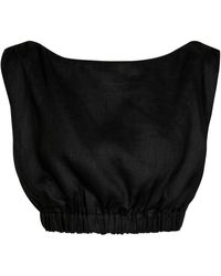 Sir. The Label Exclusive To Mytheresa – Madelyn Linen Crop Top - Black