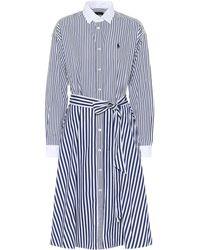 Polo Ralph Lauren Striped Cotton-poplin Shirt Dress - Blue