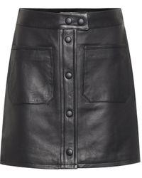 FRAME Patch Pocket Leather Miniskirt - Black