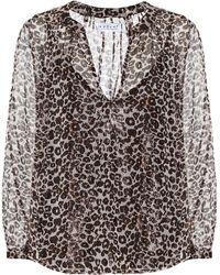 Velvet Leopard-print Blouse - Multicolour