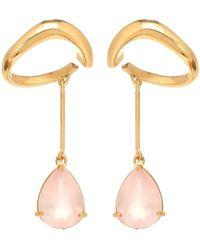 ALAN CROCETTI Esclusiva Mytheresa - Orecchini in argento bagnati in oro 18kt con quarzo rosa - Metallizzato