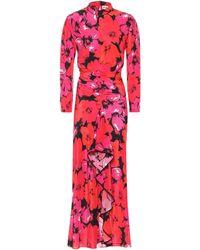 RIXO London Robe longue Dani en soie à fleurs - Rose