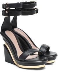 Alexander McQueen Metal Rib Strappy Wedge Sandals - Black