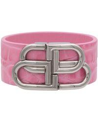 Balenciaga Armband BB aus Leder - Pink