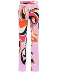 Emilio Pucci Bedruckte Hose aus Crêpe - Pink