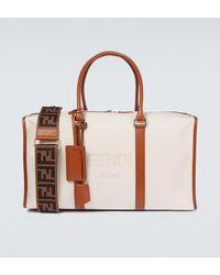 Fendi Logo Duffel Bag With Leather Trims - White