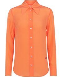 Victoria, Victoria Beckham Camicia in seta crêpe de chine - Arancione