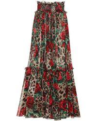 Dolce & Gabbana - Gonna a stampa animalier in chiffon - Lyst