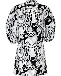 See By Chloé Puff Sleeve Graphic-print Dress - Black