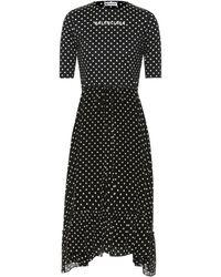 Balenciaga Vestido midi de crepé de lunares - Negro