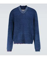 Maison Margiela Ripped V-neck Sweater - Blue