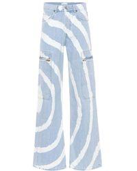 Ganni Jeans tie-dye a vita alta - Blu