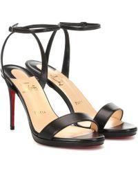 Christian Louboutin Loubi Queen 100 Leather Sandals - Black