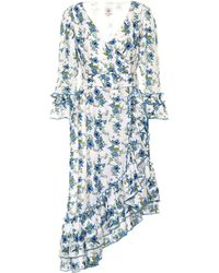 Gül Hürgel Vestido midi de lino floral - Azul