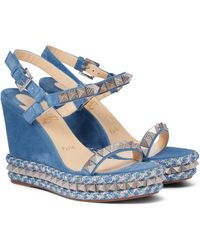 Christian Louboutin Pyraclou 120 Embellished Suede Espadrilles - Blue