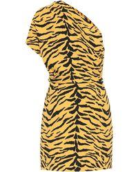 Saint Laurent Animal Print Asymmetrical Dress - Yellow