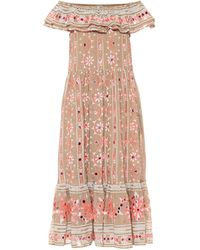 Juliet Dunn Embellished Cotton Midi Dress - Pink