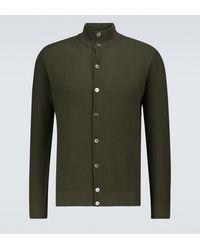 Thom Sweeney Cotton Piqué Button-down Jumper - Green