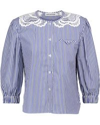 Self-Portrait Lace-trimmed Striped Cotton Blouse - Blue