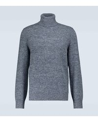 Brunello Cucinelli Jersey de cachemira y lana con cuello alto - Azul