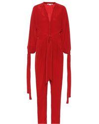 Stella McCartney Jumpsuit in crêpe di seta - Rosso