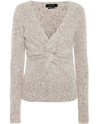 a68ba280a1 Isabel Marant Organic Wool Lace Up Front Charley Sweater in Gray - Lyst