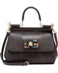 Dolce & Gabbana Miss Sicily Small Leather Shoulder Bag - Black