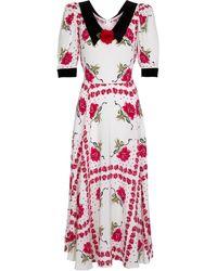 Rodarte Floral Silk Midi Dress - Red