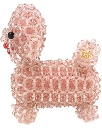 Gucci Bead Embroidered Dog Brooch - Pink
