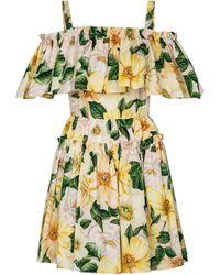 Dolce & Gabbana Minikleid aus Baumwollpopeline - Gelb